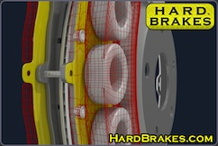 Hard Brakes titanium brake heat shields installed in brake caliper.